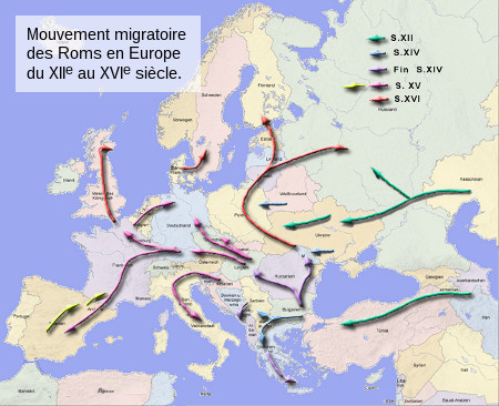 Carte des migrations de roms à travers les âges